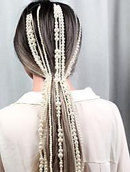 cheap -Pearl Head Chain / Hair Accessory / Crochet Hair Braids with Faux Pearl / Chain 1 Piece Wedding / Outdoor Headpiece