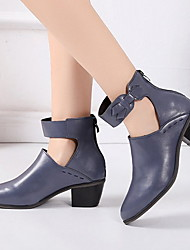 cheap -Women's Boots Low Heel Pointed Toe PU Booties / Ankle Boots Summer Black / Yellow / Blue