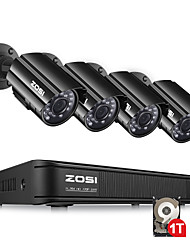 cheap -ZOSI 8 Channel Security Camera System HD-TVI 720P Video DVR recorder with 4 x HD 1280TVL 720P Indoor Outdoor Weatherproof CCTV Cameras