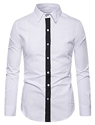cheap -Men's Daily Work Shirt - Solid Colored Black