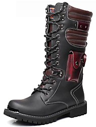 cheap -Men's Fashion Boots Synthetics Winter / Fall & Winter Classic / Vintage Boots Warm Knee High Boots Black / Party & Evening