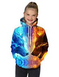 cheap -Kids Toddler Girls' Active Basic Wolf Geometric Print Color Block Print Long Sleeve Hoodie & Sweatshirt Light Blue / Animal
