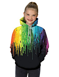cheap -Kids Toddler Girls' Active Basic Black & White Geometric Galaxy Color Block Print Long Sleeve Hoodie & Sweatshirt Black