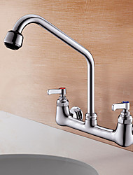 cheap -Kitchen faucet - Two Handles Two Holes Multi-Ply Standard Spout Wall Installation Contemporary Kitchen Taps