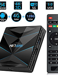 cheap -HK1 SUPER Smart TV Box Android 9.0 Rockchip RK3318 Quad Core 64 4K 4GB 128GB 2.4G 5G WiFi BT4.0 HD Media Player