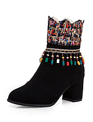 cheap -Women's Boots Chunky Heel Round Toe Tassel PU Mid-Calf Boots British / Preppy Fall & Winter Black / Brown / Yellow