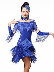 cheap -Latin Dance Dresses Women's Training / Performance Ice Silk Tassel / Crystals / Rhinestones Half-Sleeve Natural Dress / Sleeves