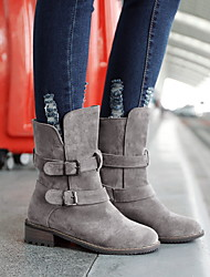 cheap -Women's Boots Flat Heel Round Toe Suede Mid-Calf Boots Fall & Winter Black / Yellow / Gray