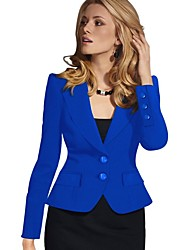 cheap -Women's Blazer, Solid Colored Notch Lapel Polyester Black / Wine / White