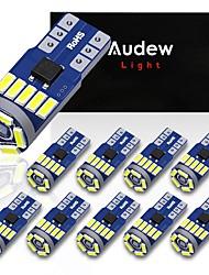 cheap -AUDEW 10PCS 4014 SMD T10 W5W LED Side Wedge Marker Lights CANBUS Error Free 12V 6712K White