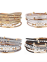 cheap -Women's Wrap Bracelet Layered Ball Trendy Casual / Sporty Hippie Pearl Bracelet Jewelry Black / White / Rainbow For Gift School Street / Leather