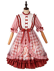cheap -Country Lolita Casual Lolita Cute Dress Girls' Female Japanese Cosplay Costumes Red Plaid / Checkered Plaid / Check Plaid Petal Sleeve Half Sleeve Knee Length