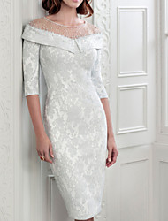 cheap -Sheath / Column Jewel Neck Knee Length Lace Half Sleeve Plus Size Mother of the Bride Dress with Beading 2020