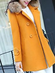 abordables -Femme Quotidien Automne hiver Longue Manteau, Couleur Pleine Revers Cranté Manches Longues Polyester Noir / Fuchsia / Jaune