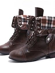 cheap -Women's Boots Flat Heel Round Toe PU Mid-Calf Boots Fall & Winter Black / Dark Brown / Coffee