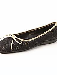 cheap -Women's Flats Flat Heel Square Toe Bowknot PU Sweet Fall Black / White