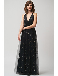 cheap -A-Line Spaghetti Strap Floor Length Tulle Bridesmaid Dress with Pattern / Print / Criss Cross / Open Back