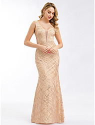 cheap -Mermaid / Trumpet Plunging Neck Floor Length Tulle Elegant Formal Evening Dress with 2020