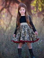 cheap -Kids Girls' Floral Long Sleeve Knee-length Dress Black
