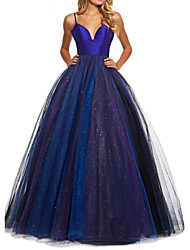 cheap -Ball Gown Spaghetti Strap Floor Length Tulle Open Back Prom Dress with Pleats 2020