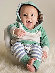 cheap -Baby Boys' Casual / Active Print / Color Block / Patchwork Print Long Sleeve Regular Clothing Set Green