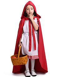 Недорогие -Красная Шапочка Накидка Товары для Хэллоуина Детские Девочки Косплей Хэллоуин Halloween фестиваль Хэллоуин Фестиваль / праздник Терилен Хлопок Красный Карнавальные костюмы Клетчатый / пестрый / Шапки
