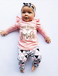 cheap -Baby Girls' Casual / Active Solid Colored / Print Print Long Sleeve Regular Clothing Set Blushing Pink