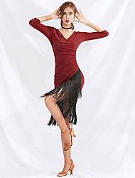 cheap -Latin Dance Dresses Women's Performance Spandex Ruching / Tassel Half Sleeve Dress