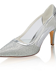 cheap -Women's Wedding Shoes Stiletto Heel Pointed Toe Sequin Synthetics Spring &  Fall / Summer Silver / Party & Evening