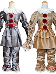 cheap -Burlesque Clown Pennywise Outfits Halloween Props Men's Women's Movie Cosplay Halloween Golden / Silver Bracelet & Bangle Top Pants Halloween Carnival Children's Day Terylene / Collar / Waist Belt