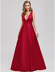 cheap -A-Line Elegant Formal Evening Dress Plunging Neck Sleeveless Floor Length Crepe with 2020