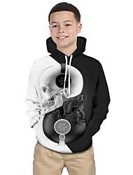 cheap -Kids Toddler Boys' Active Basic Black & White Geometric Print Color Block Print Long Sleeve Hoodie & Sweatshirt White
