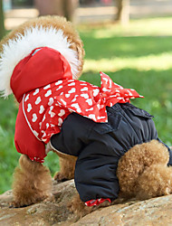 cheap -Dogs Coat Outfits Jacket Winter Dog Clothes Red Costume Corgi Shiba Inu Pug Cotton Heart Warm Ups Leisure XS S M L XL