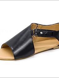cheap -Women's Sandals Flat Sandals Summer Flat Heel Peep Toe Daily PU Black / Pink / Green