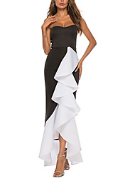 cheap -Women's Asymmetrical Black Dress A Line Solid Colored Strapless S M Loose