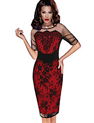 cheap -Women's Purple Red Dress Elegant Sophisticated Event / Party Office Shift Sheath Striped Floral Lace Patchwork Lace Trims S M / Cotton