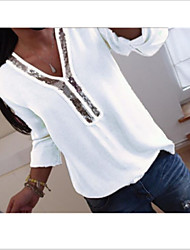 cheap -Women's Solid Colored Shirt Sequins Tops V Neck White Black Blue