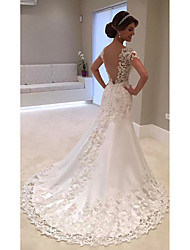 cheap -Mermaid / Trumpet V Neck Chapel Train Lace / Tulle / Lace Over Satin Cap Sleeve Beach Sexy / Beautiful Back Made-To-Measure Wedding Dresses with Beading / Buttons / Pearls 2020