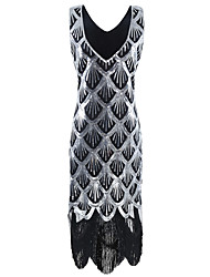 cheap -The Great Gatsby 1920s Vintage Inspired Flapper Costume Dress Party Costume Women's Sequins Tassel Sequin Costume Silver Vintage Cosplay Party Party & Evening Sleeveless Knee Length