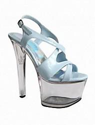 cheap -Women's Sandals Stiletto Heel Peep Toe PU British Summer Light Blue / Green / Pink / Party & Evening