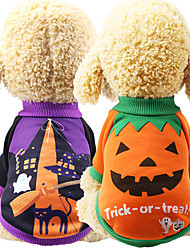 cheap -Dogs Sweatshirt Dog Clothes Purple Orange Halloween Costume Pug Poodle Chihuahua Cotton Pumpkin Cosplay S M L XL