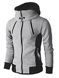 cheap -Men's Daily Fall & Winter Regular Jacket, Color Block Hooded Long Sleeve Polyester Light gray / Dark Gray / Beige