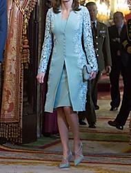 Недорогие -Жен. Классический Кружева Из двух частей Платье Кружева Глубокий V-образный вырез До колена