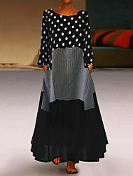 cheap -Women's Plus Size Maxi Loose Abaya Dress - Polka Dot Patchwork Spring Black Yellow Red M L XL XXL