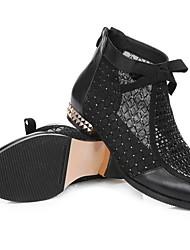 Недорогие -Жен. Ботинки На плоской подошве Круглый носок Кожа Ботинки Лето Черный