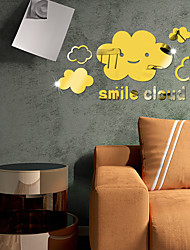 cheap -Smiling Clouds Abstract Wall Stickers Mirror Wall Stickers Decorative Wall Stickers for Kids Room /Nursery Acrylic Home Decoration Wall Decal Wall Decoration 1pc