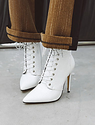 cheap -Women's Boots Stiletto Heel Pointed Toe Patent Leather Booties / Ankle Boots Classic / Minimalism Spring &  Fall / Fall & Winter Black / White / Red
