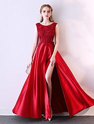 cheap -A-Line Elegant Sparkle & Shine Prom Dress Jewel Neck Sleeveless Floor Length Satin Tulle Polyester with Pleats Split Front 2020