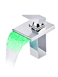 cheap -Bathroom Sink Faucet - Waterfall / LED Chrome Centerset One Hole / Single Handle One HoleBath Taps / Brass