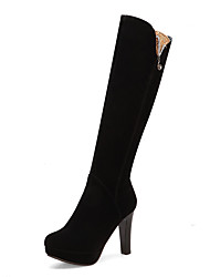 cheap -Women's Boots Chunky Heel Round Toe Suede Fall & Winter Black